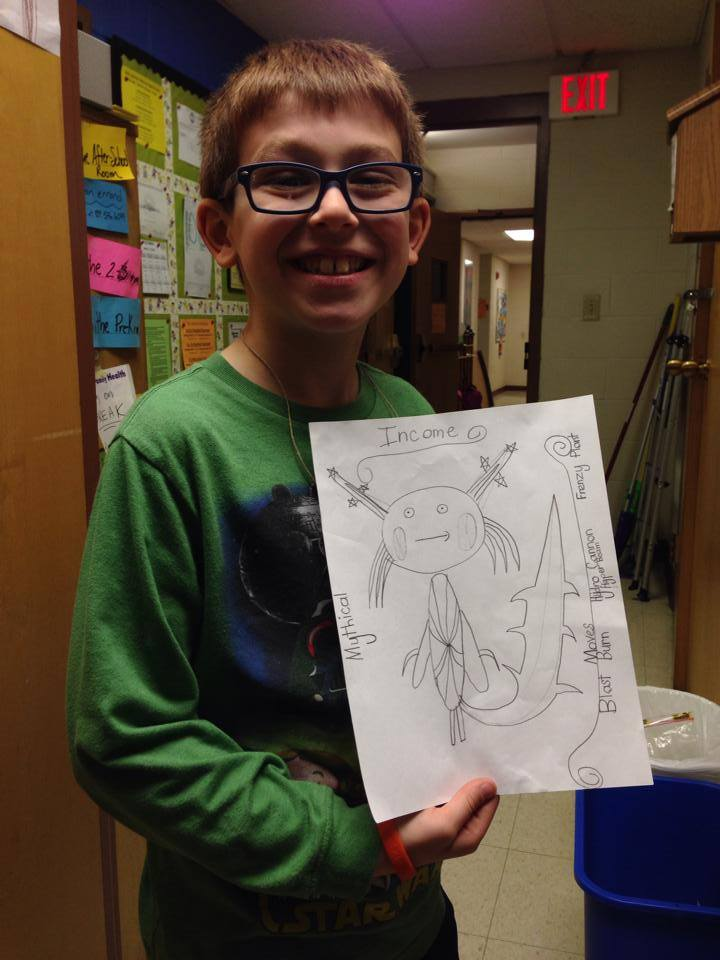 Gabe with drawing
